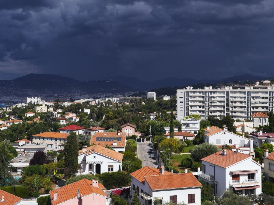 mountain, town, house, building, street, panorama, tree