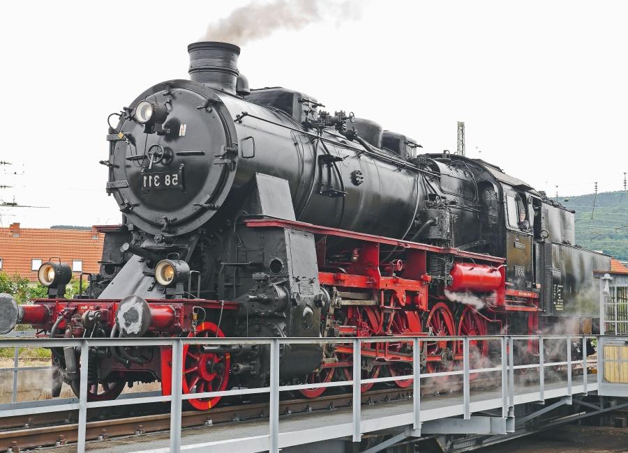trein, locomotief, stoommachine, vervoer, spoorlijn