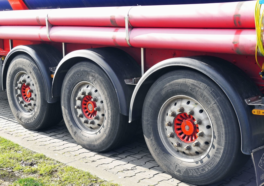 wheel, tire, truck, trailer, tank, pipe, transportation, cargo