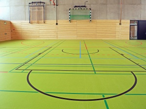 Terrain de basketball, hall, gymnastique, sport