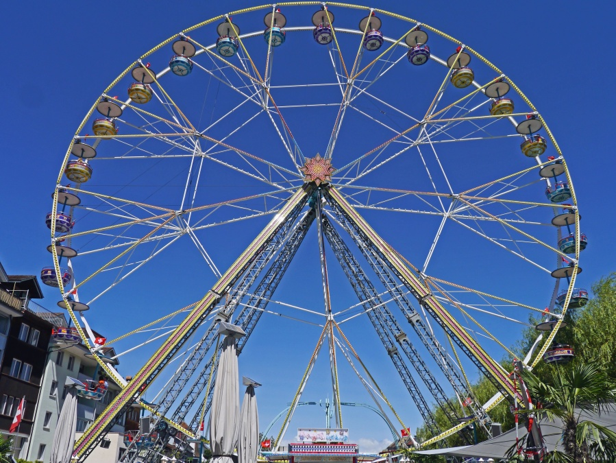 amusement park, wheel, city, building, sky, fun