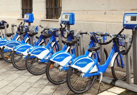 Vélos, transport, stationnement, véhicule, transport, roue