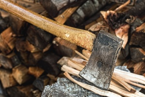hatchet, tree, stump, metal, iron, tool