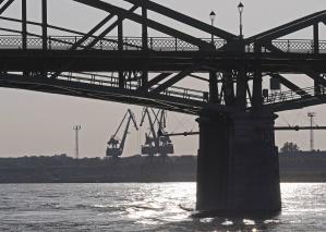 bridge, river, water, pillar, crane, construction, metal
