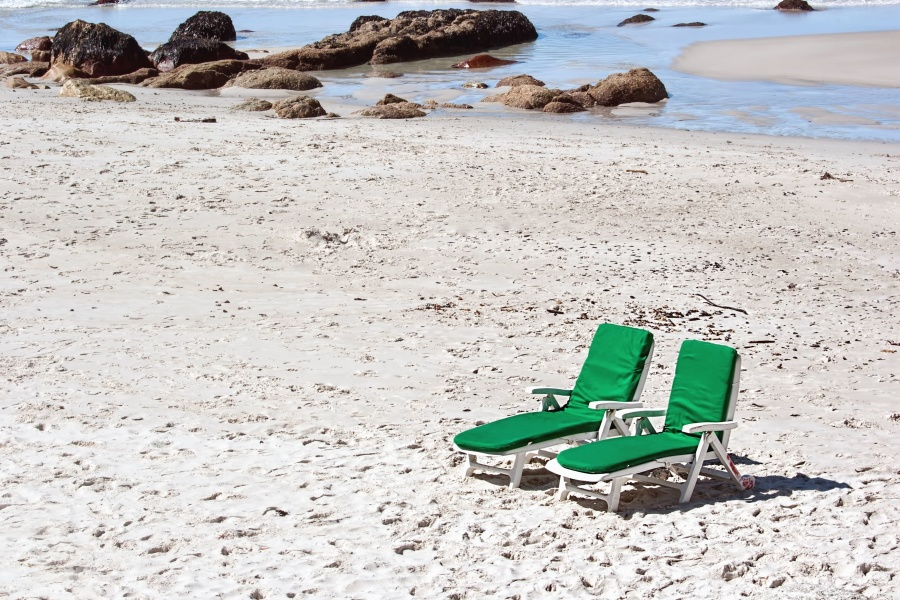 deck chairs, sand, coast, sea, rock, water, sun, vacation, summer