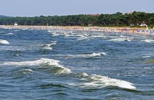 Mar, gente, costa, agua, natación, ola, madera, vacaciones, turismo