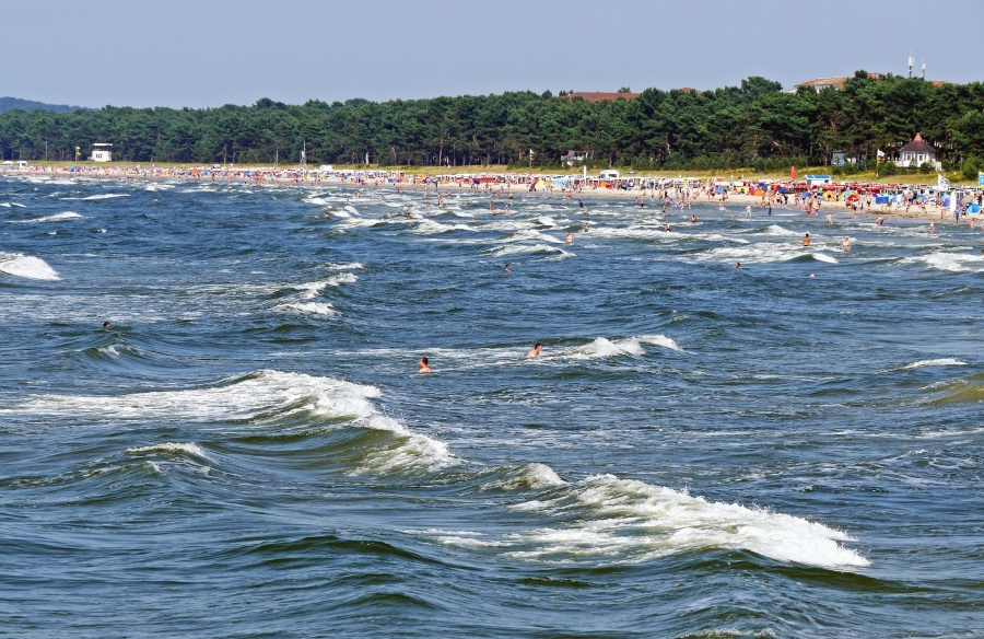 sea, people, coast, water, swimming, wave, wood, vacation, tourism