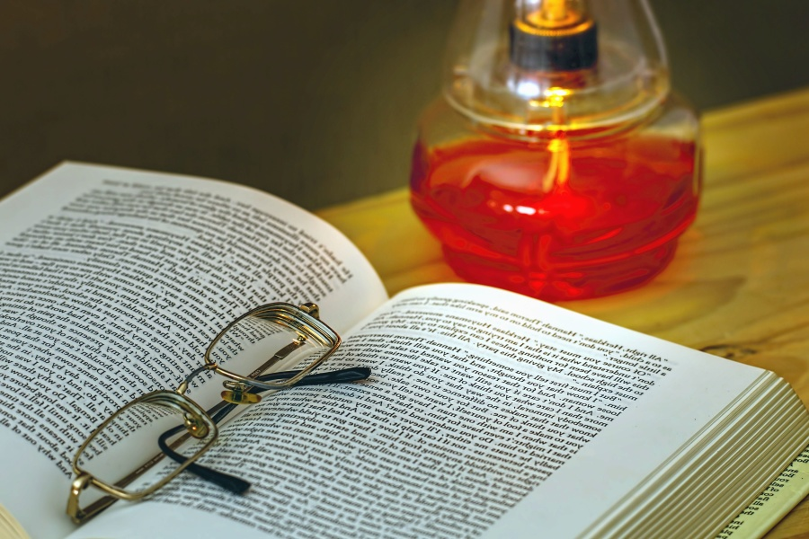 book, eyeglasses, reading, lamp, science