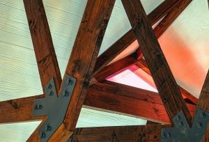 Bois, construction, métal, toit, vis