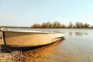 Agua, río, costa, barco, árbol, cadena