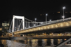 structure, architecture, bridge, river, building, street lights, night, reflection