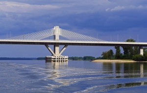 bridge, pillar, transportation, construction, architecture, river, water
