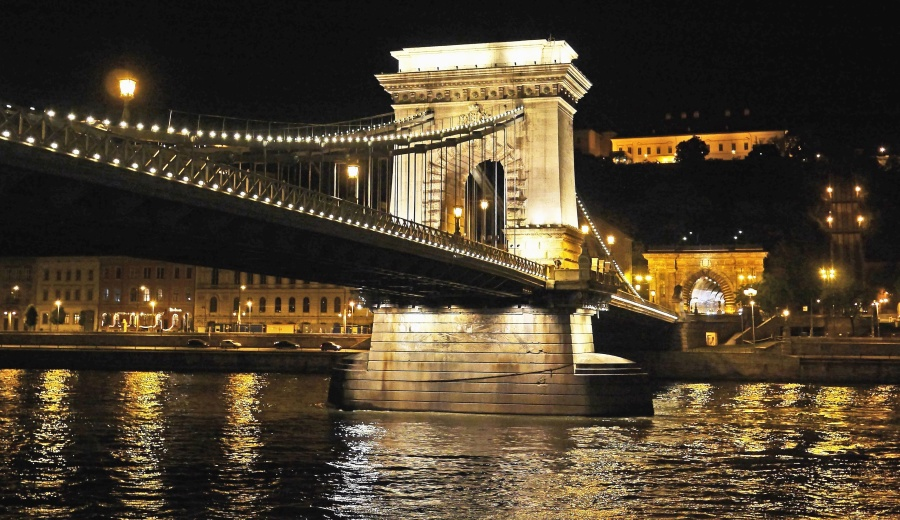 architecture, city, bridge, river, reflection, night, water