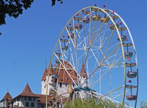wheel, amusement park, city, sky, building