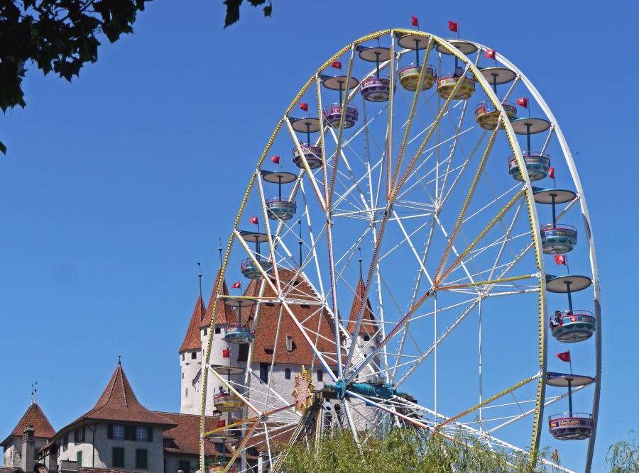 wheel, amusement park, city, sky, building