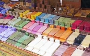 Colección, colores, tienda, jabón, supermercado