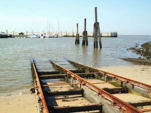 dock, boat, sea, metal, rail, shipyard