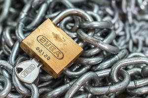 Kłódka, klucz, łańcuch, metalu, żelaza