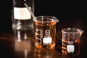 Química, vidrio, laboratorio, examen, líquido