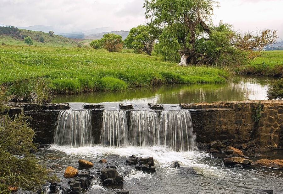 dam, water, grass, landscape, tree, reflection, stone