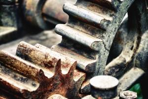 Engranaje del metal, mecánicos, óxido, acero, máquina