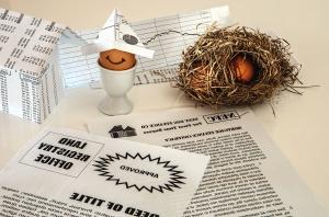 αυγό, κοτόπουλο, φωλιά, χαρτί, διακόσμηση, τραπέζι