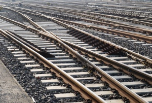 railroad, stone, metal, concrete, track, railroad