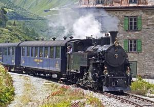 電車、機関車、煙、家、交通機関。車、旅行