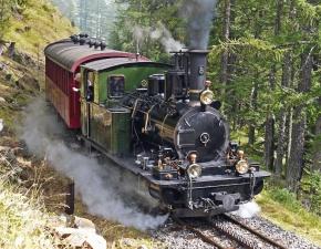 山、森、機関車、魅力、煙、蒸気機関、観光
