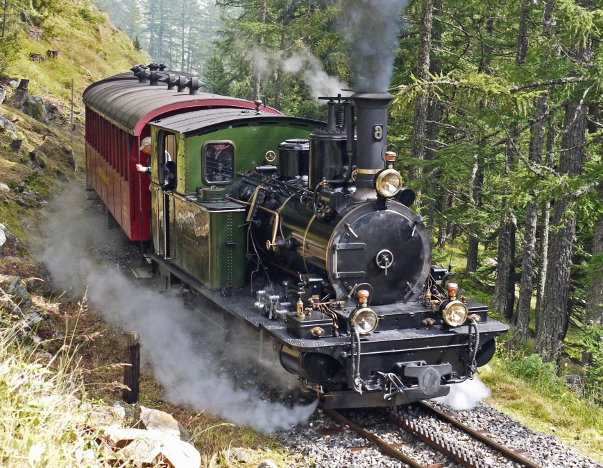 mountain, forest, locomotive, attraction, smoke, steam engine, tourism