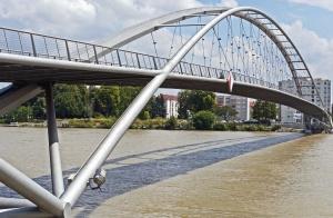 Puente, río, ciudad, río, arquitectura, edificio, árbol, costa