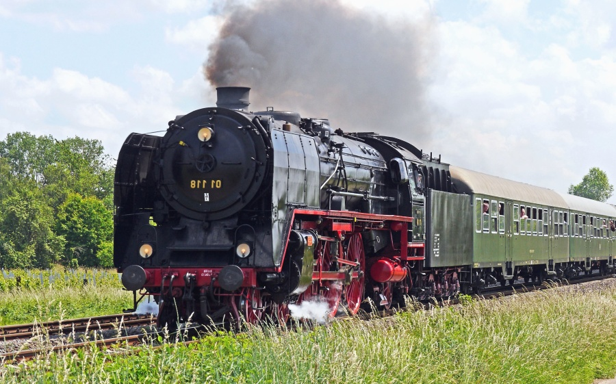 transport, train, railroad, travel, grass, smoke, tourism