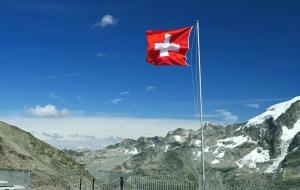 Bandera, montaña, nieve, cielo, cerca, paisaje, frío