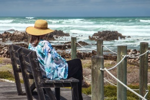 ocean, sea, water, woman, fence, bench, travel