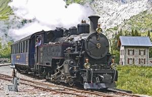 蒸気機関車、山、交通、鉄道、家、鉄道、蒸気、煙