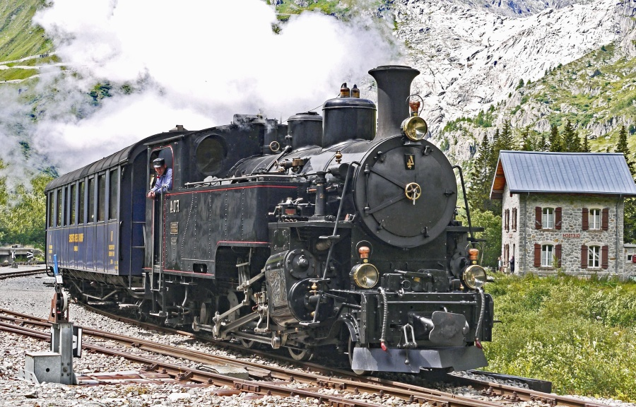 steam locomotive, mountain, transport, train, house, railroad, steam, smoke