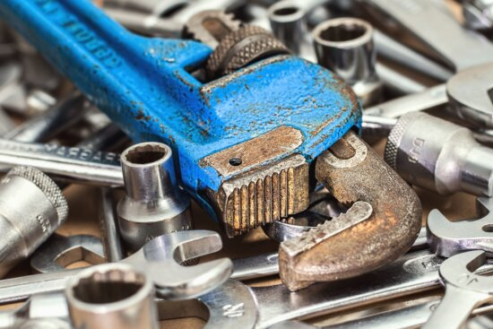 wrench, screw, metal, mechanical, cast