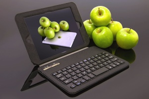 laptop, apple, fruit, technology, food, business, food