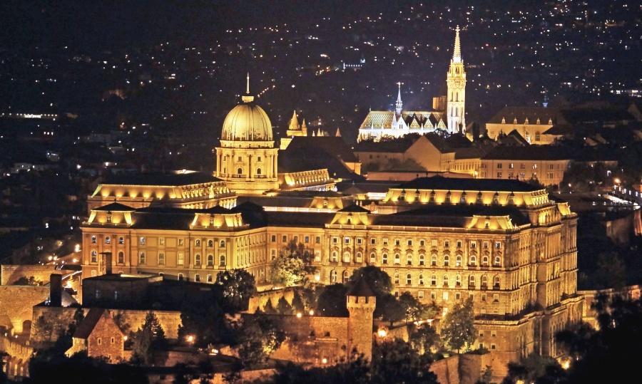 architecture, building, castle, dome, church, facade, night