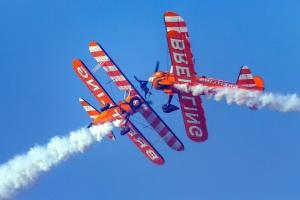 Avión, cielo, acrobacia, humo, airshow, vehículo