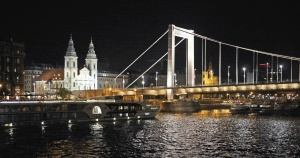 city, night, reflection, bridge, architecture, church, building