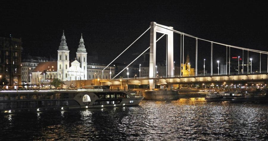 city, night, reflection, bridge, architecture, church, building