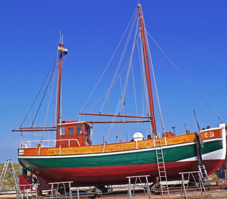 sailboat, repair, ladders, travel, cab, tree, sky