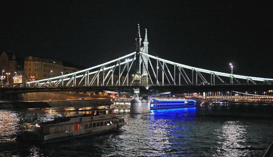 bridge, river, night, reflection, city, boat, tourism, travel, lighting