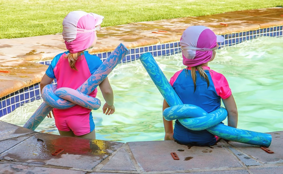 trava, ljeto, vode, dijete, bazen, odmor