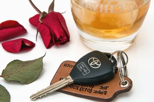 glass, rose, fruit juice, ice, key, car, pendant, leaf
