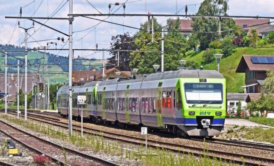 Eisenbahn, lokomotive, reise, reisender, transport, strom, transport