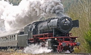 smoke, steam, machine, steam locomotive, passenger, railroad