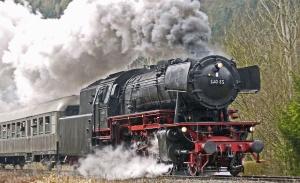 煙、蒸気、マシン、蒸気機関車、客車、鉄道