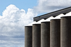silo, roof, sky, concrete, warehouse